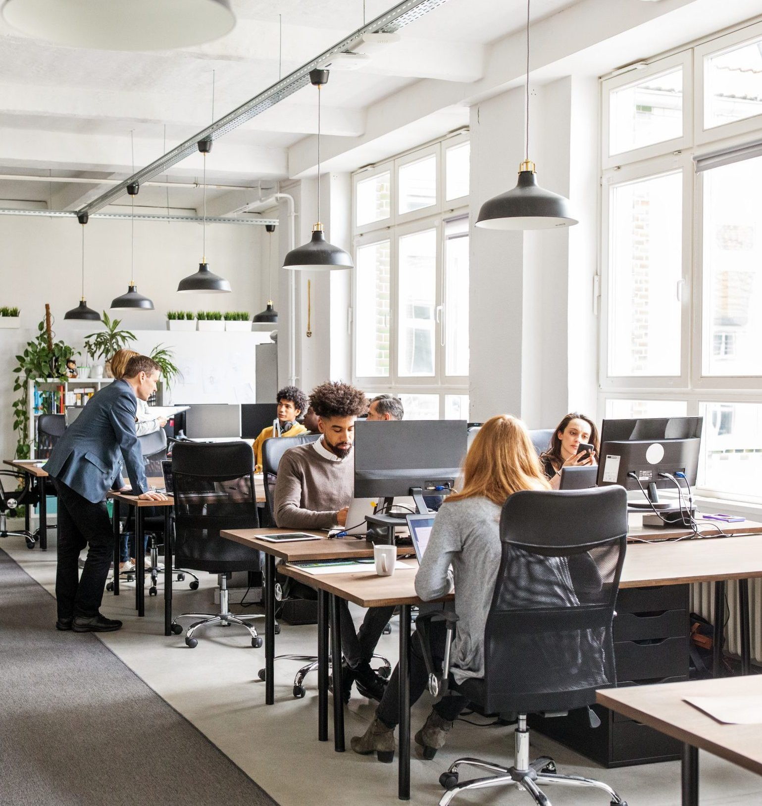 Business people working in modern office space
